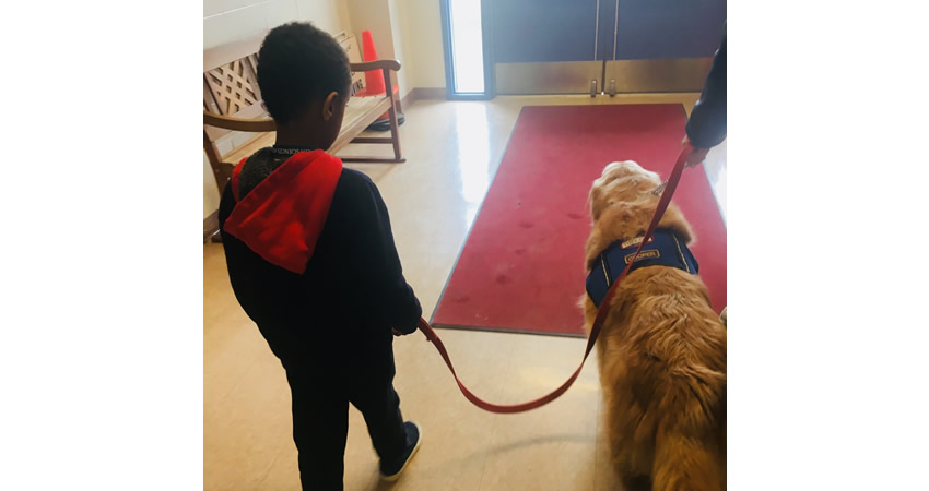 Student & Cooper, our resident Golden Retriever reading buddy!