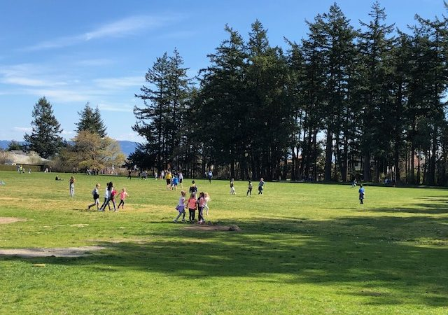 Students enjoying the Hillcrest Fields