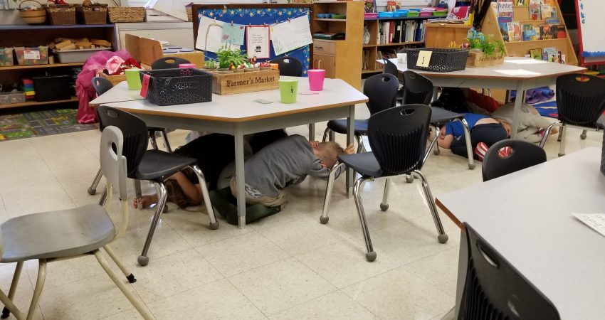 Great Shakeout BC Earthquake Drill! – Our Kindergartener's taking their job very seriously…