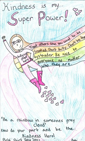 Pink Shirt Day Poster runner up by Ava in Gr. 5